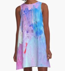 Abstract glitch - Candy pink, blue and ultra violet A-Line Dress