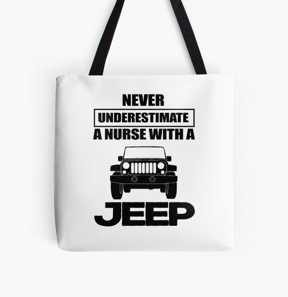 Nunca subestimes a una enfermera con un jeep Bolsa estampada de tela