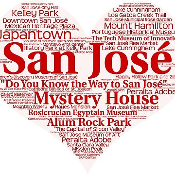 Heart of San Jose Red Heart Word Cloud Products by Mel747
