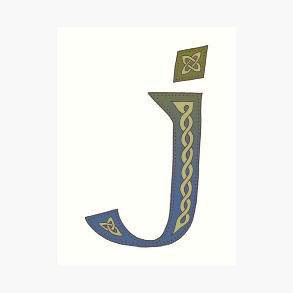 Celtic Knotwork Alphabet - Letter J Art Print