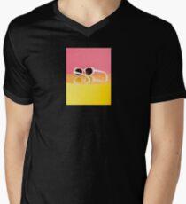 Retro White Oval Sunglasses V-Neck T-Shirt