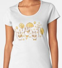 Pandas and ginkgo Women's Premium T-Shirt