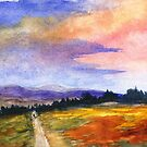 The Good Life, Watercolor Landscape Painting by ItayaArt