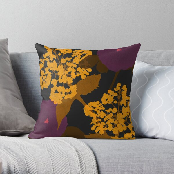 Portland Flora and Fauna in Plum, Gold and Noir by Jessica Poundstone Throw Pillow