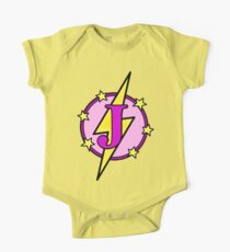 Cute Superhero Girl Super Letter J - Pink and Purple One Piece - Short Sleeve