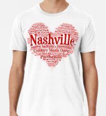 Camiseta premium para hombre Corazón de Nashville Corazón rojo Word Cloud Products
