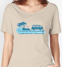 'Longboard' Surf Retro Design in Teal & Aqua Women's Relaxed Fit T-Shirt