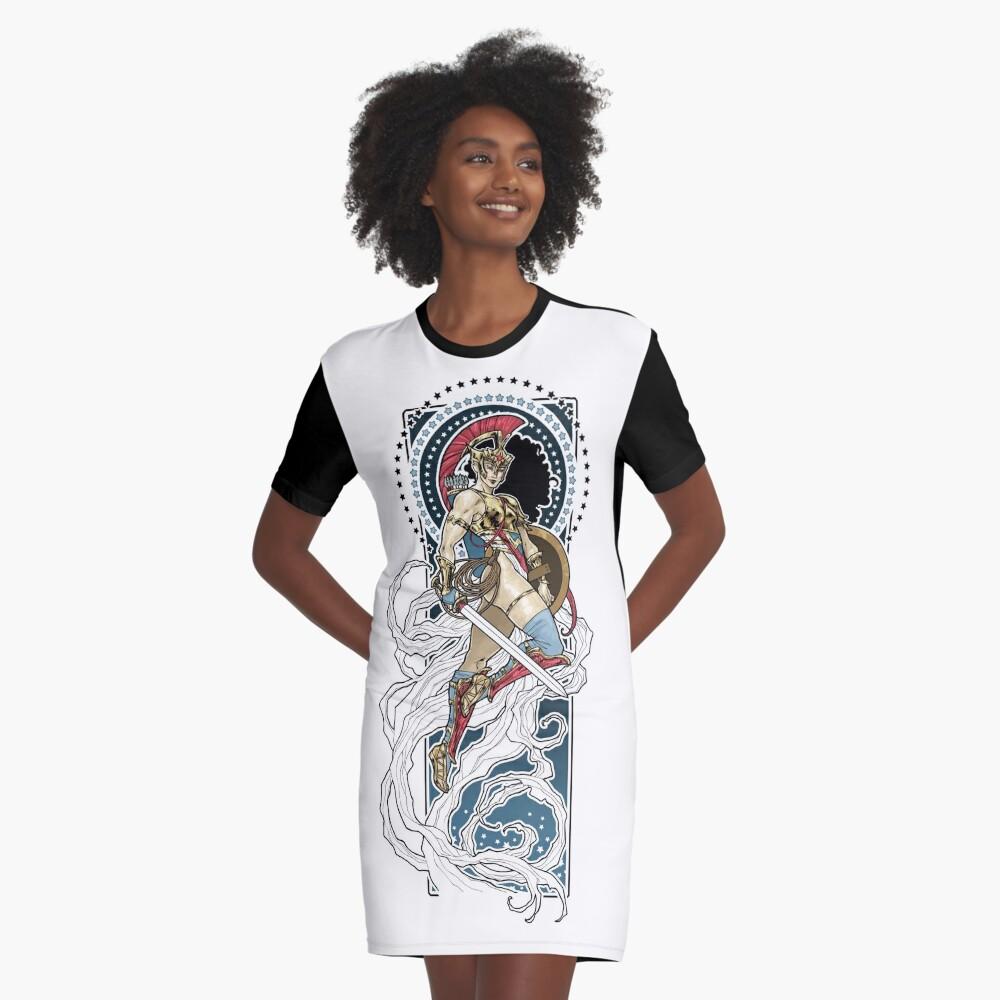 Female Warrior Graphic T-Shirt Dress