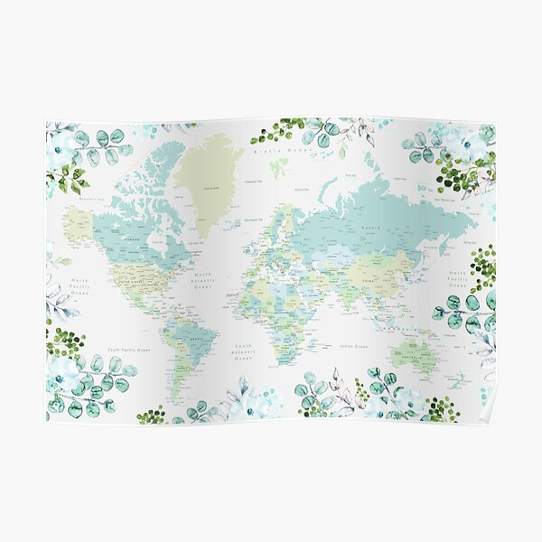 Greenery mint and blue detailed world map with cities Poster