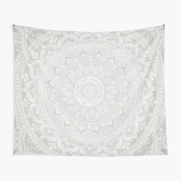 Mandala Soft Gray Tapestry