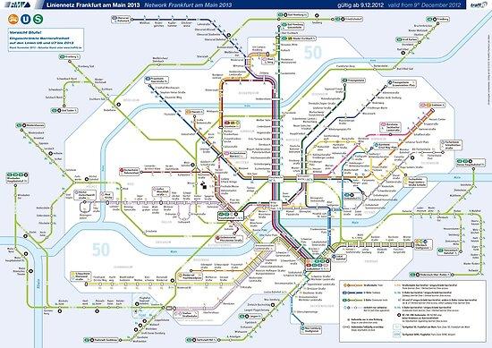 City map Frankfurt am Main metro
