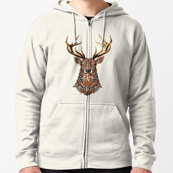 Ornate Buck Zipped Hoodie