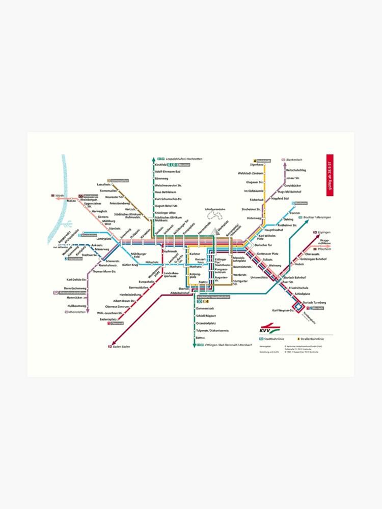 Map Of Germany Karlsruhe Baden.Karlsruhe Metro Subway U Bahn S Bahn Map Germany Art Print