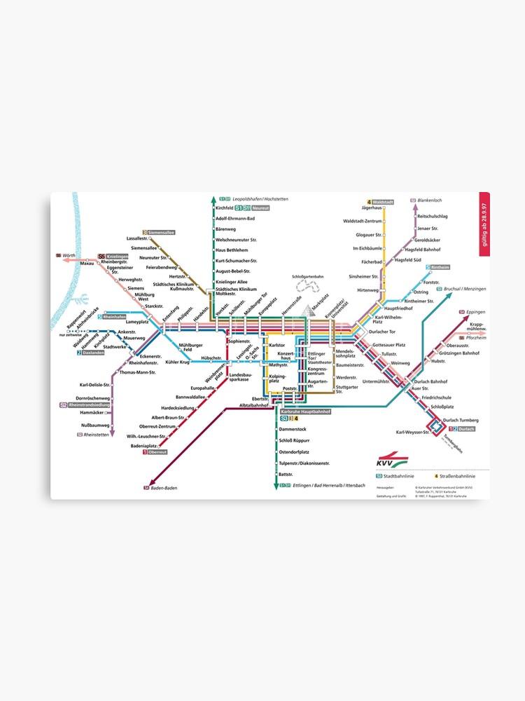 Map Of Germany Karlsruhe Baden.Karlsruhe Metro Subway U Bahn S Bahn Map Germany Metal