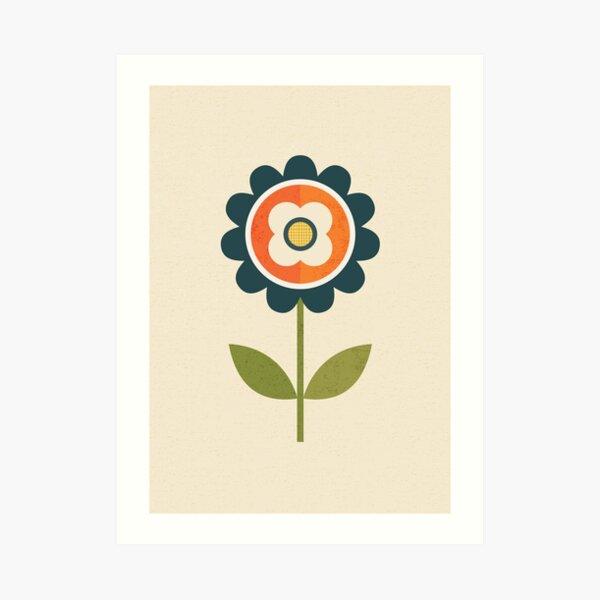 Retro Daisy - Orange and Cream Art Print