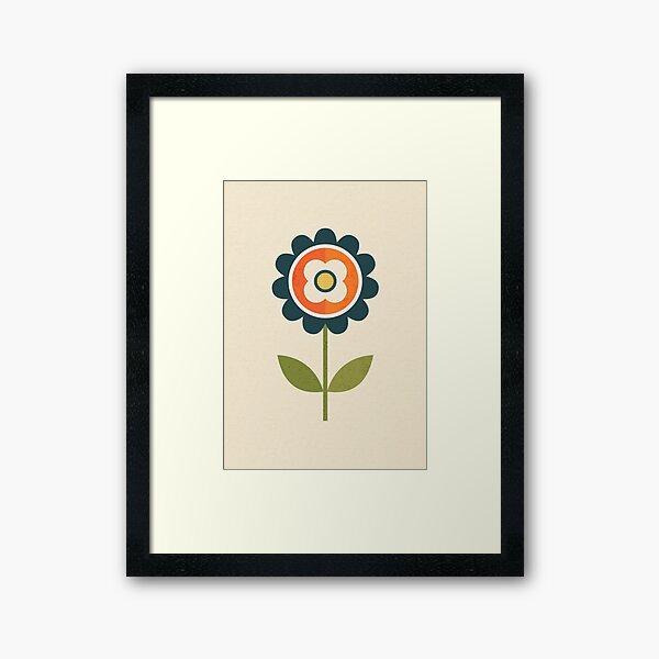 Retro Daisy - Orange and Cream Framed Art Print