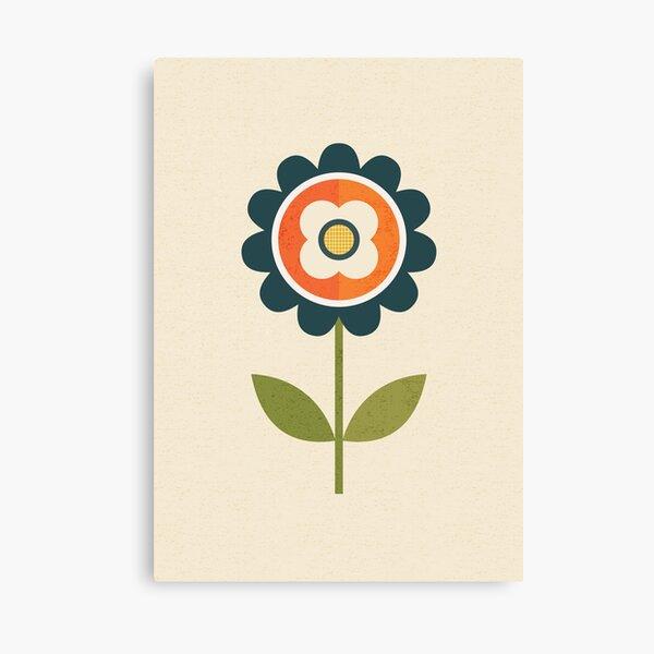 Retro Daisy - Orange and Cream Canvas Print