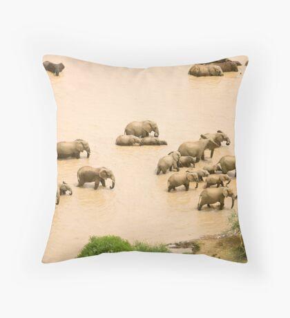 Elephants at a waterhole Throw Pillow