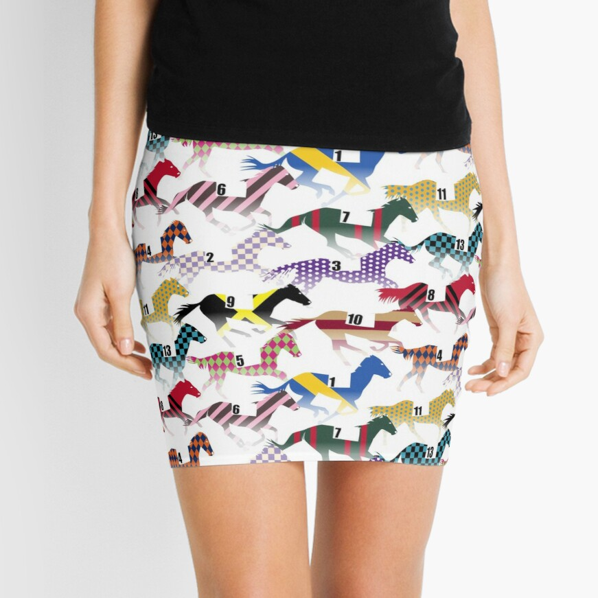 Off to the Horse Races Jockey Silks Pattern Mini Skirt