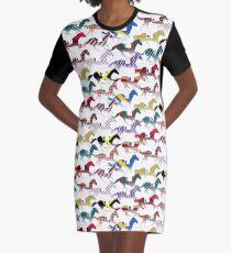 Auf zu den Pferderennen Jockey Silks Pattern T-Shirt Kleid