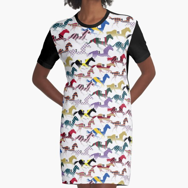 Off to the Horse Races Jockey Silks Pattern Graphic T-Shirt Dress