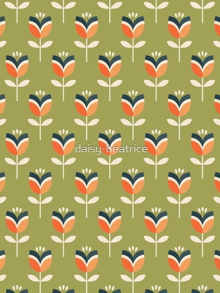 Retro Tulpe - Orange und Olivgrün von daisy-beatrice