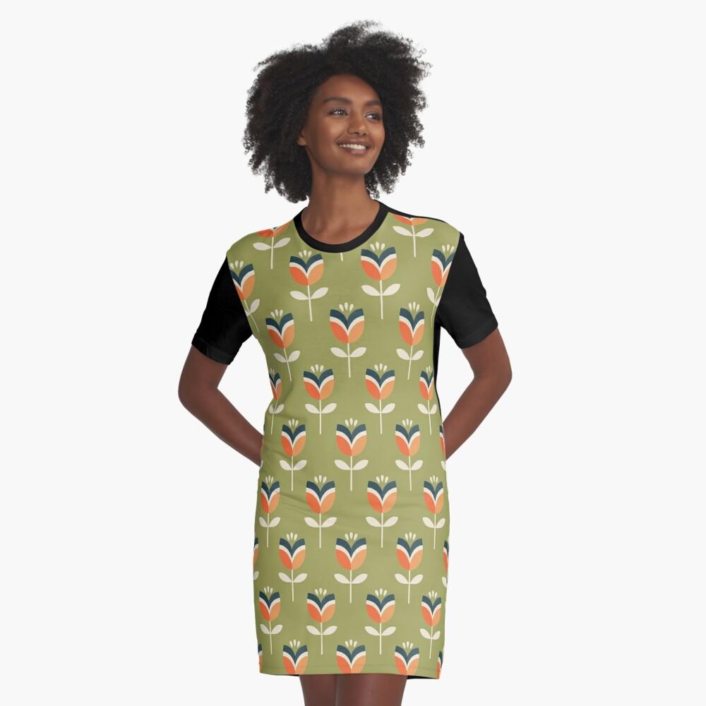 Retro Tulpe - Orange und Olivgrün T-Shirt Kleid