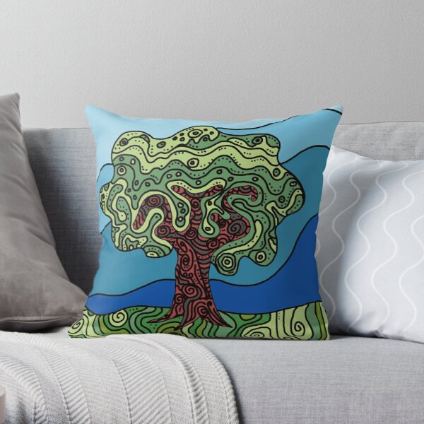 Earth Tree Throw Pillow