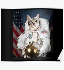 Astronaut White Cat Poster
