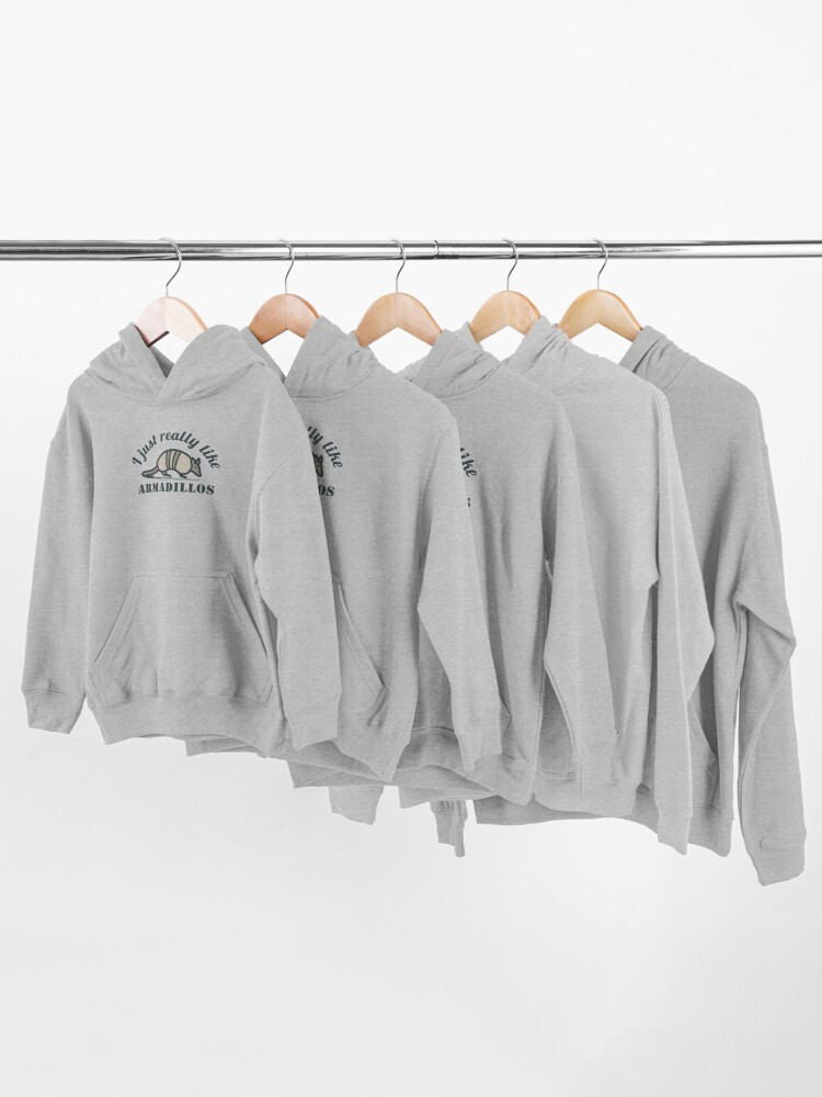 Alternate view of I Just Really Like Armadillos Kids Pullover Hoodie