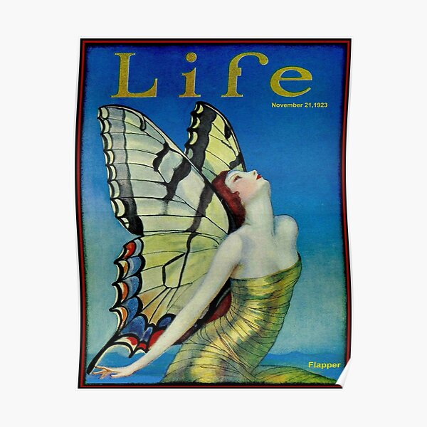 LIFE : Vintage 1923 Flapper Butterfly Print Poster