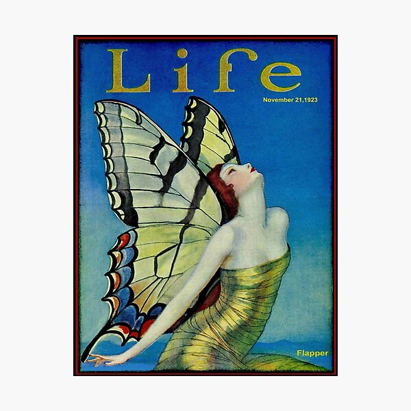 LIFE : Vintage 1923 Flapper Butterfly Print Photographic Print