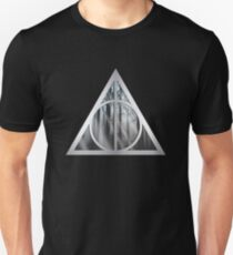 HP Hallows - window with forest - wand, cloak, stone Unisex T-Shirt