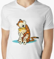 Calvin and Hobbes Hugging Men's V-Neck T-Shirt