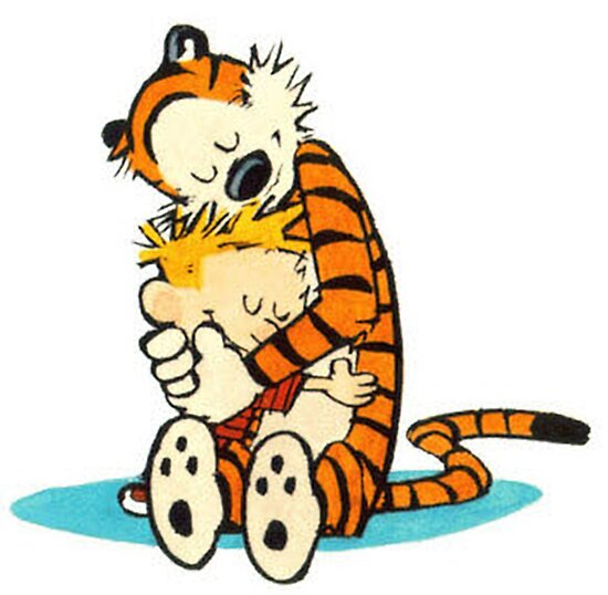 Calvin and Hobbes Hugging\