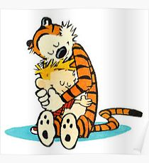 Calvin and Hobbes Hugging Poster