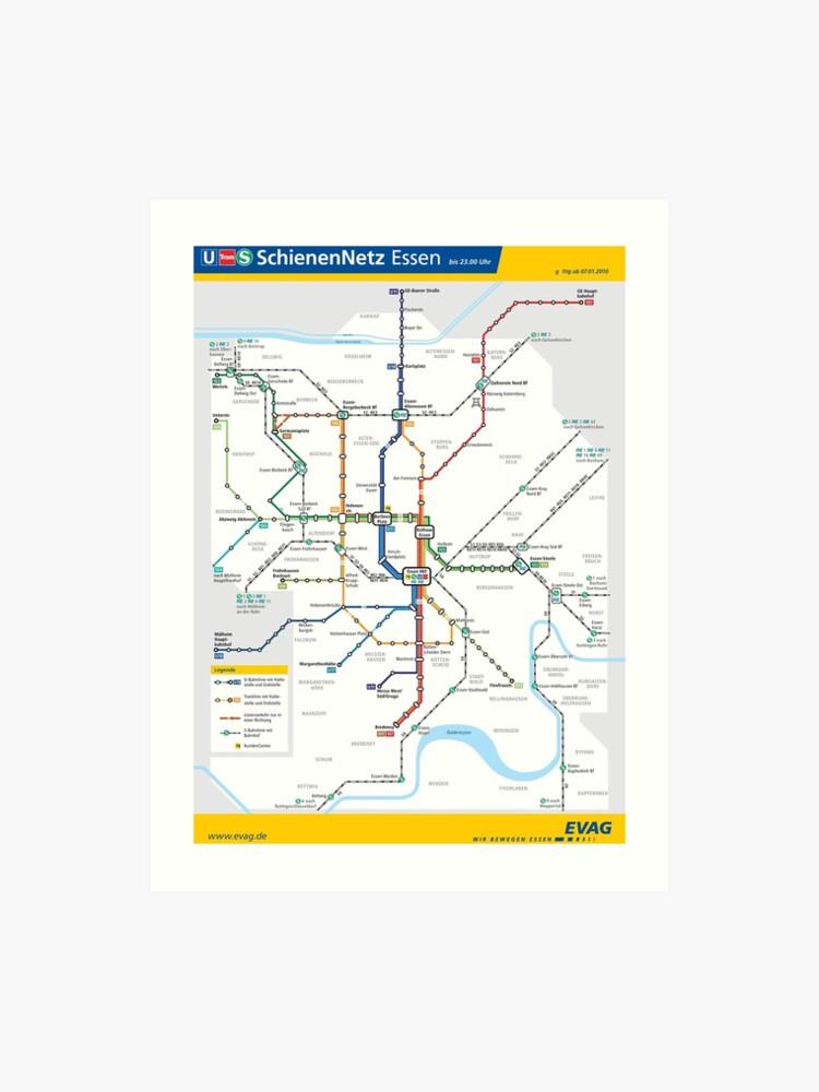 Map Of Germany Essen.Essen Metro Subway U Bahn S Bahn Map Germany Art Print