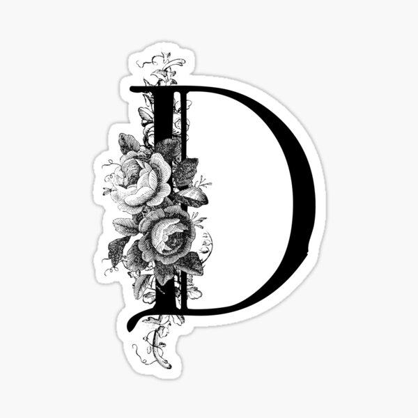Vintage Engraved Floral Monogram Letter D Sticker