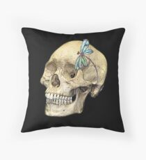 Skull & Dragonfly  Throw Pillow