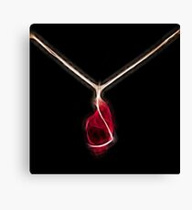 intense red crystal gold necklace mon bijou by neonflash Canvas Print