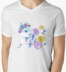 Watercolor Floral Bunny Men's V-Neck T-Shirt
