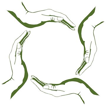 Four people hands making circle conceptual round green eco symbol background art print by ArtNudePhotos