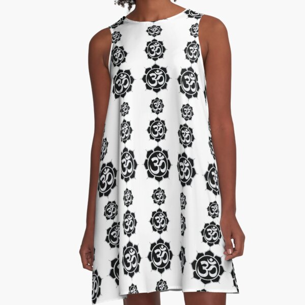 Super Aum Emanation White on Black A-Line Dress