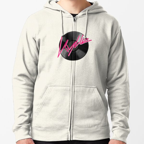 Kylie Minogue - record (black and pink) Zipped Hoodie