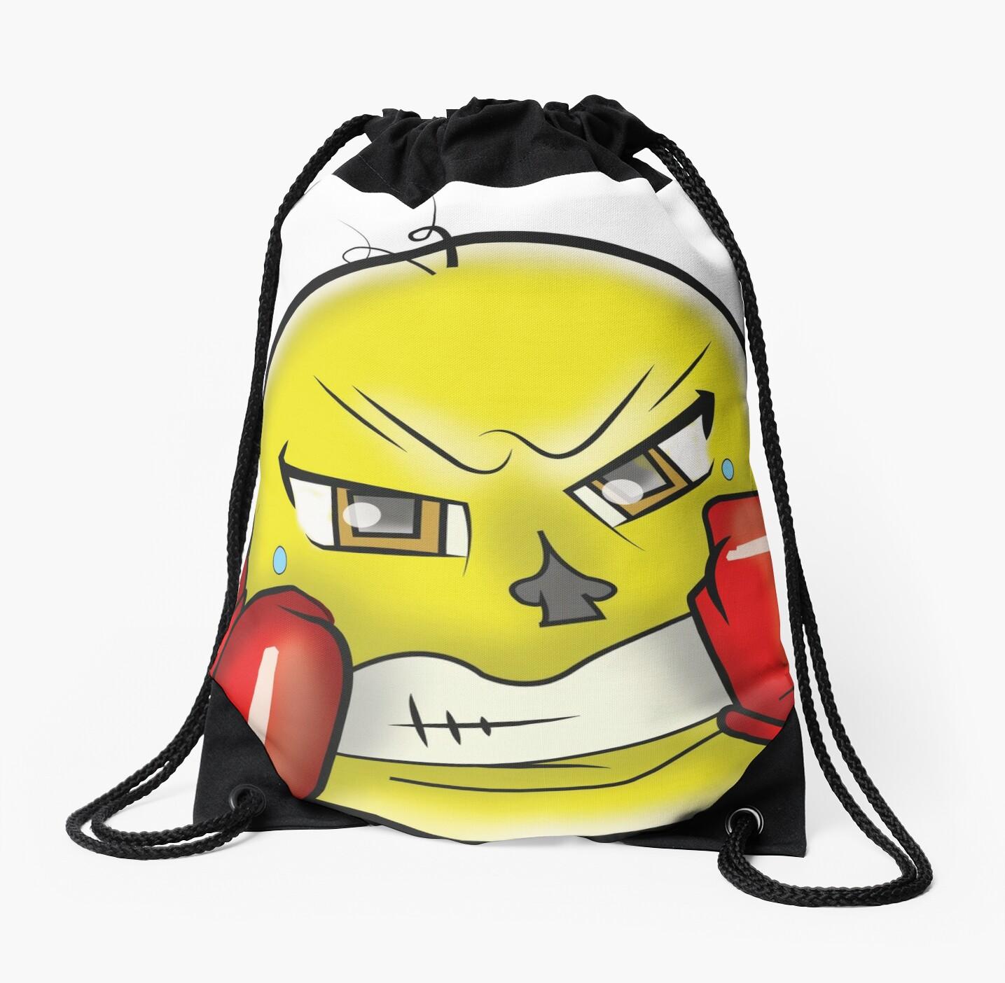 boxing fighter emoji w gloves drawstring bags by gtartland