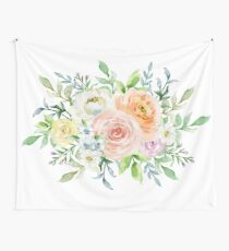Tela decorativa Flores románticas en colores pastel acuarela