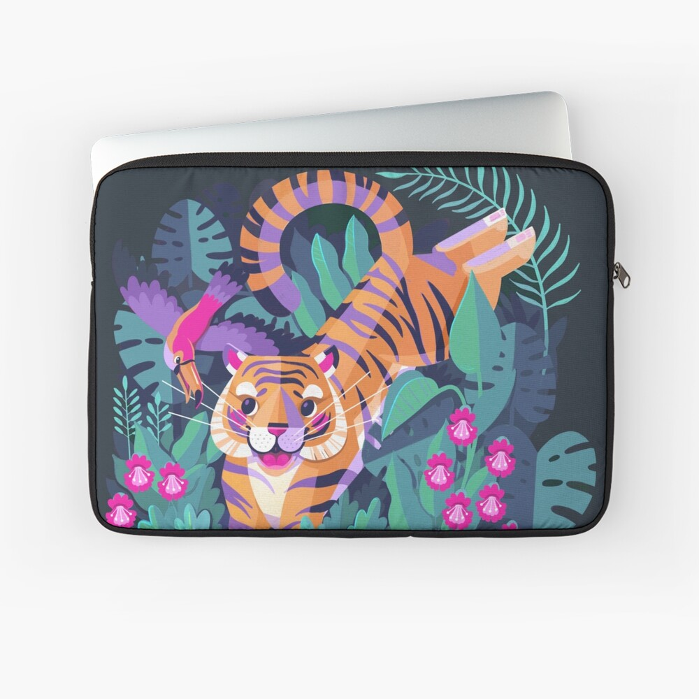 Jumping Tiger - Flying Toucan Laptop Sleeve Front