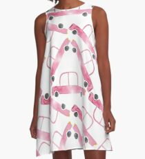 Watercolor long toy car  A-Line Dress