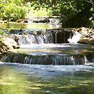 Waterfall  On The  River by Leslie van de Ligt