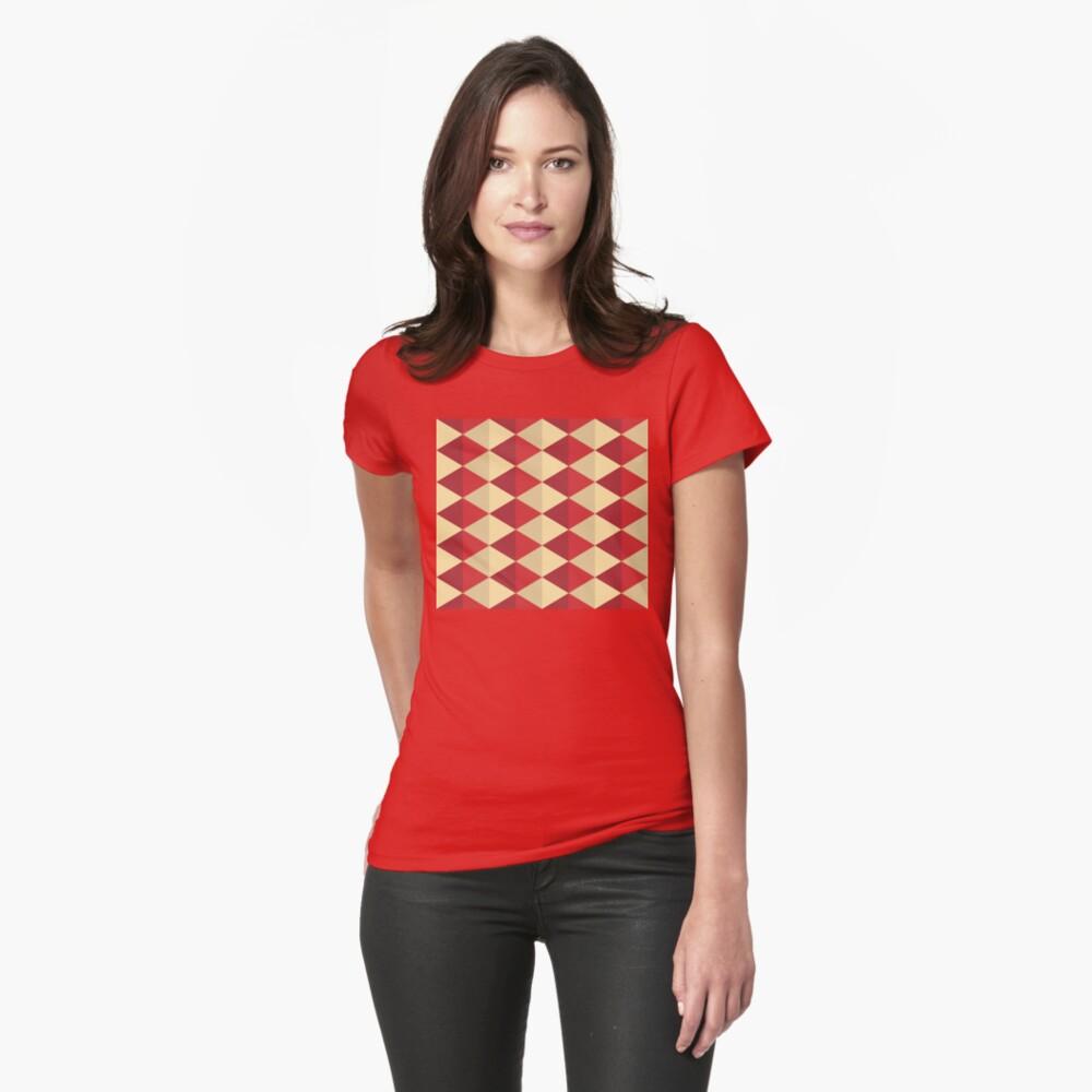 Geometric Pattern: Split Diamond: Red Fitted T-Shirt